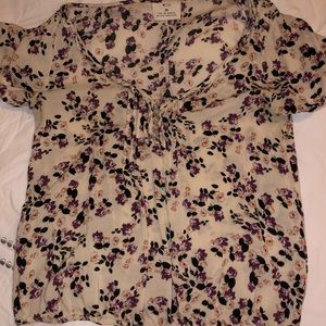 Multi colored floral short sleeve top